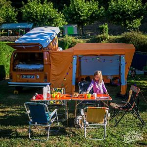 vw vanlife vwcamper breakfast westfalia awning camping latebay
