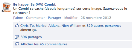 Exemple de publication sur Facebook