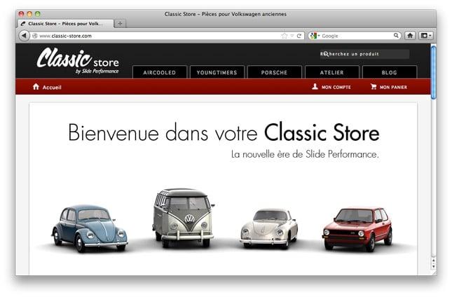 Aperçu du site internet de Classic Store