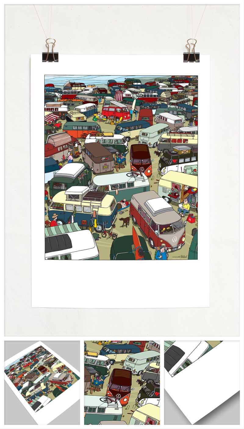 """Affiche """"First Bay Camper"""" par Florend pour Dabel"""