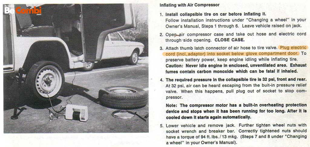 Mode emploi VW Campmobile 1974