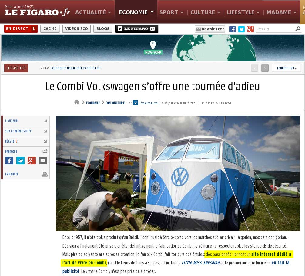 Article du figaro.fr sur la fin de la production du VW Combi