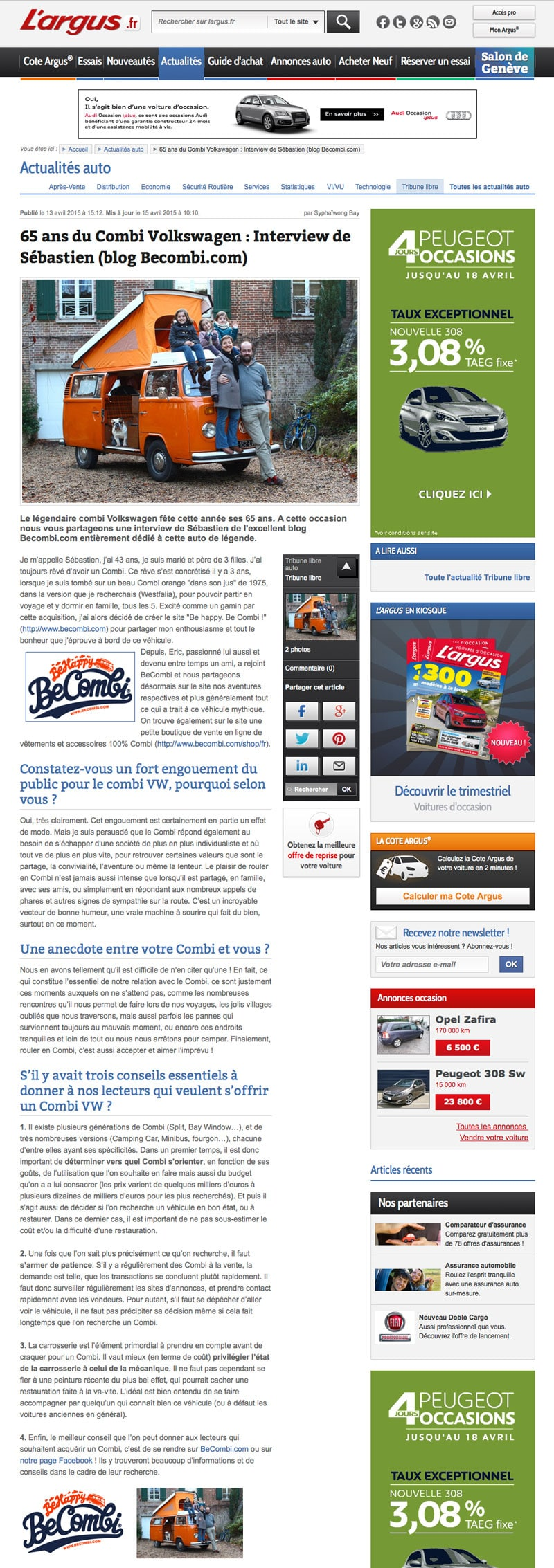 Interview Tribune Libre Argus 13 Avril 2015 | BeCombi