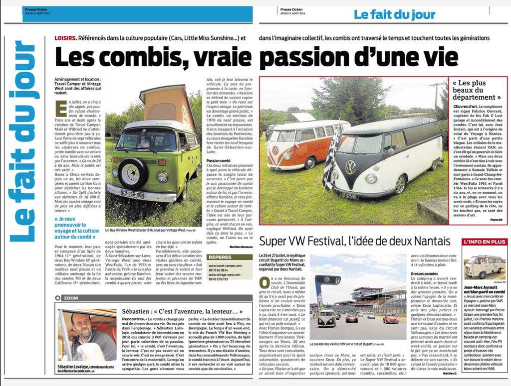 Presse Ocean - Les Combis, vraie passion d'une vie - 21 aout 2014