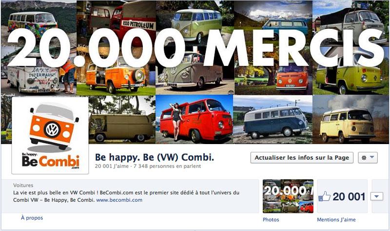 """20.000 """"J'aime"""" sur la page Facebook de BeCombi !"""