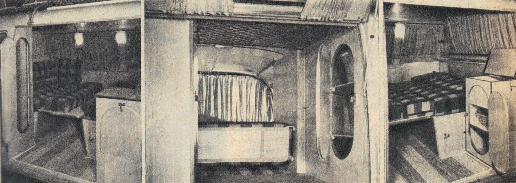 Un coup d'œil à l'intérieur de l'installation montre les différentes possibilités de rangement. Le large lit à deux places avec sommier rembourré convient à n'importe quel adulte. Un tapis solide recouvre le sol.